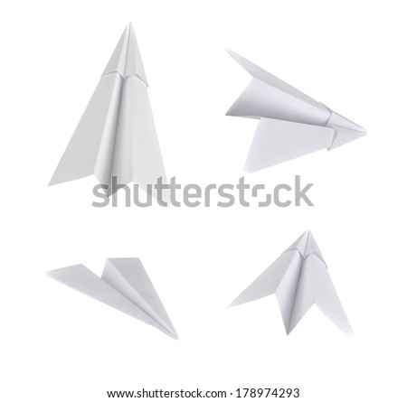 Set of real photos on paper planes. Isolated on white background.  - stock photo