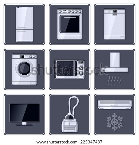 Set of realistic household appliances. Raster illustration. - stock photo