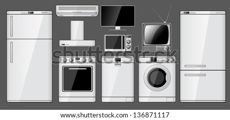 Set of realistic household appliances. Raster version of the illustration. - stock photo