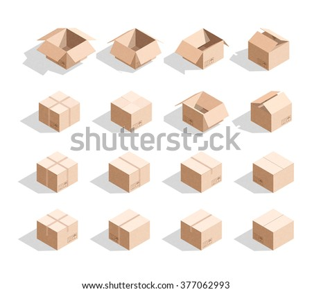 Set of 16 realistic isometric cardboard boxes with texture. Templates box for design - stock photo