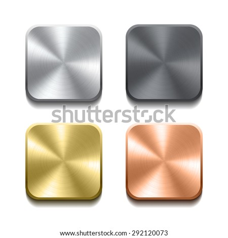 Set of realistic metal buttons with circular processing.  - stock photo