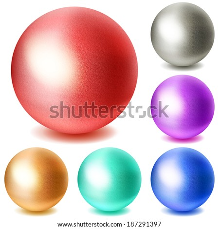 Set of realistic multicolored spheres with shadows on white background. Raster version. - stock photo