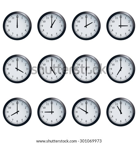 Set of realistic wall clocks, with the times set at every hour. - stock photo