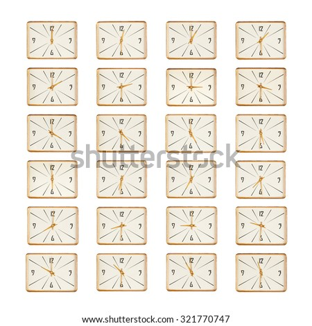 Set of rectangle vintage clock faces isolated over white background - stock photo