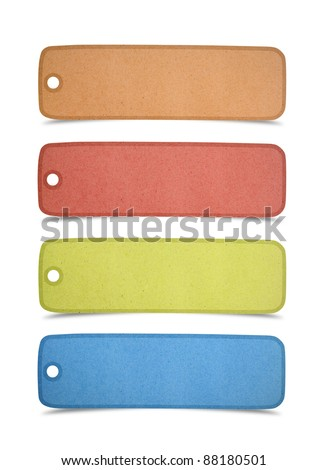 set of recycled paper stick on white background - stock photo