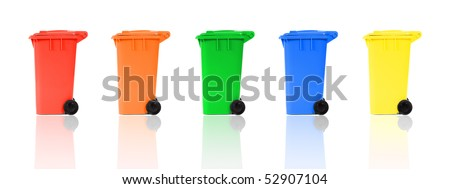 set of recycling bins with reflections - stock photo