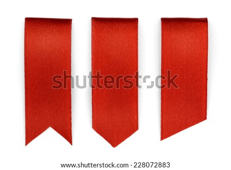 Set of red bookmarks isolated on white background  - stock photo