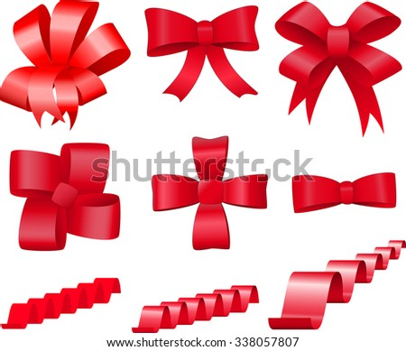 Set of red bows and tapes - stock photo