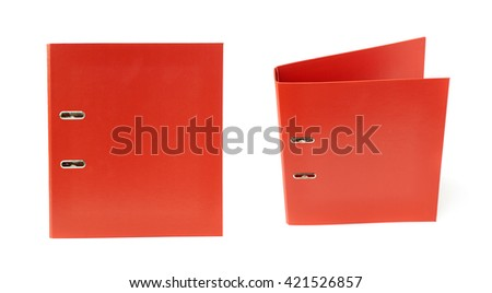 Set of Red Office folder isolated over the white background - stock photo