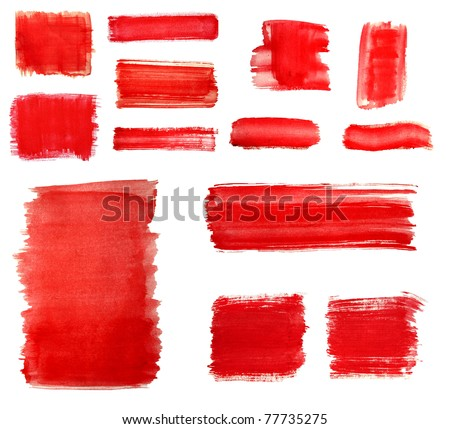 set of Red paint drawn with brush stroke - stock photo