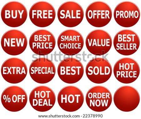Set of red promotional symbols/icons. - stock photo