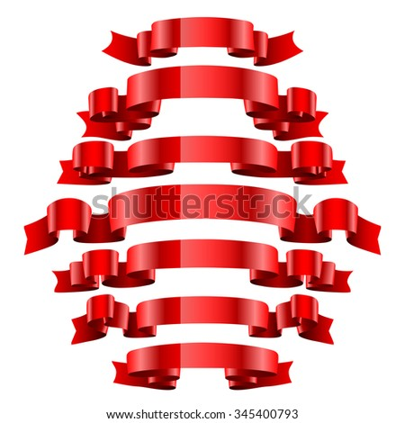 Set of Red Ribbons Isolated on White Background. Illustration  - stock photo