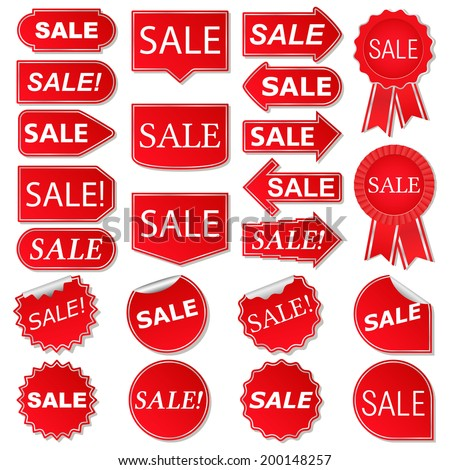 Set of red sale stickers - stock photo