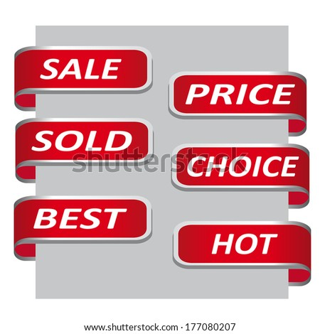 Set of red sales ribbon banner - tack on paper  (Vector version is also available in my portfolio, ID 110734406) - stock photo