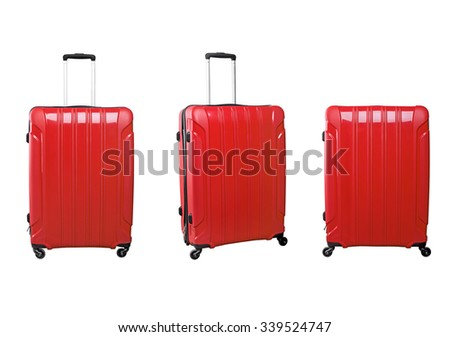Set of red travel bags on wheels in different angles. Isolated on white background. - stock photo
