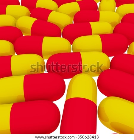 Set of red-yellow pills on white background 3d image  - stock photo
