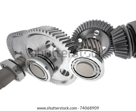 Set of reduction gears from simple gearbox. - stock photo