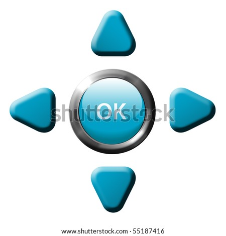 Set of remote control game or phone navigation arrow control buttons and OK button. - stock photo