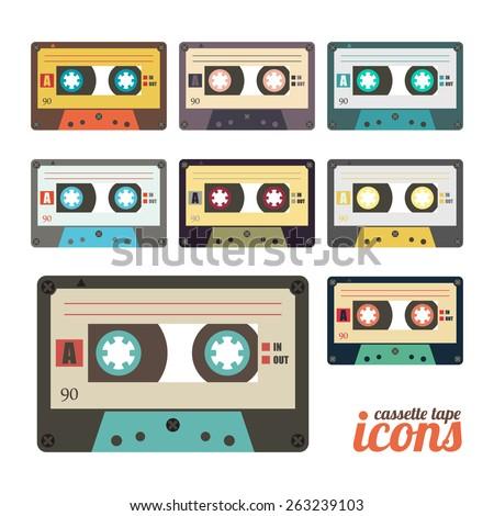 set of retro cassette tape icons  - stock photo