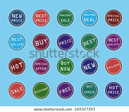 Set of retro flat stickers and banners - stock photo