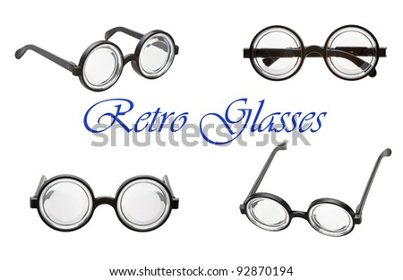 set of retro glasses isolated on a white background - stock photo