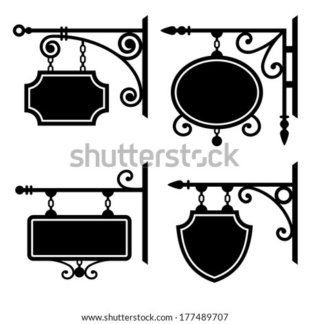 Set of retro graphic forged signboards - stock photo