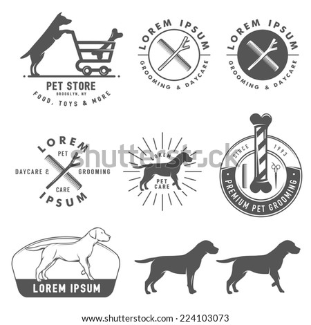 Set of retro pet care labels, badges and design elements - stock photo