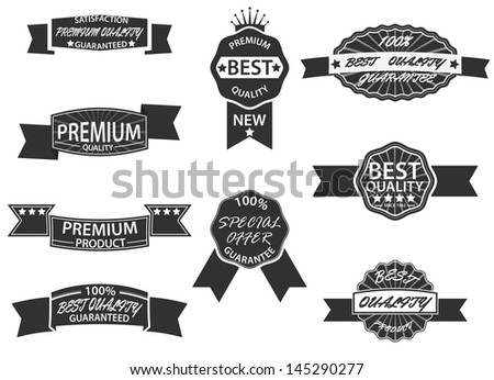 Set of 9 Retro Premium Quality Labels and Badges - stock photo