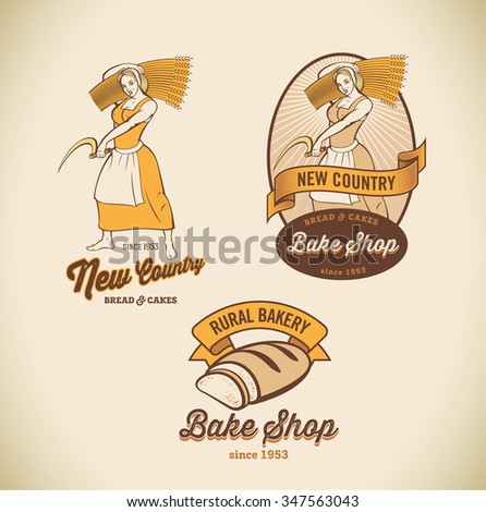 Set of retro-styled bakery labels including images of country woman and rustic bread. Raster image. - stock photo