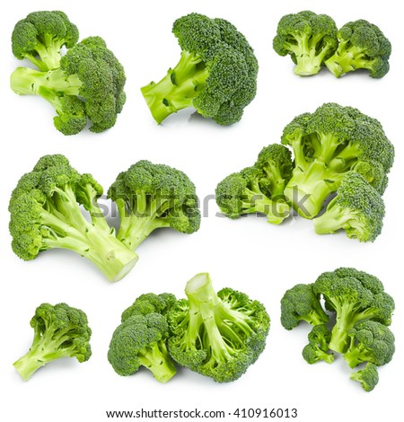 Set of ripe broccoli isolated on white background - stock photo