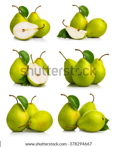 Set of ripe green pear fruits with leaves isolated - stock photo