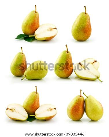 Set of Ripe Pear Fruits Isolated on White Background - stock photo