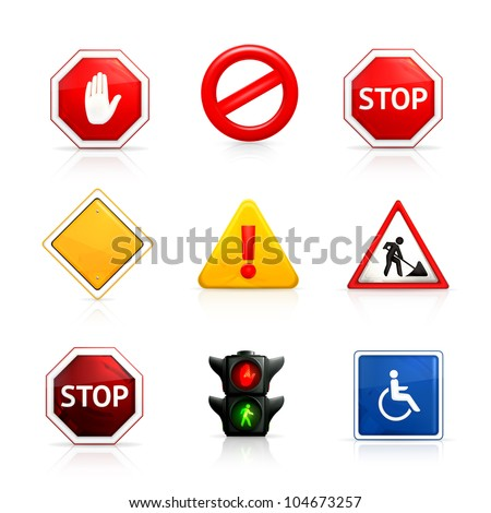 Set of road signs, bitmap copy - stock photo