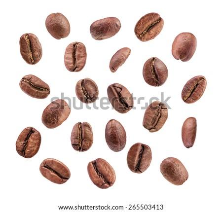 Set of roasted coffee beans macro shots isolated on white background - stock photo