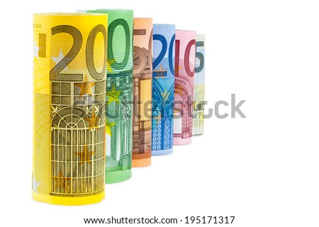 Set of rolled euro banknotes isolated on white background with clipping path - stock photo