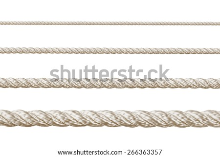 Set of ropes isolated on white background - stock photo
