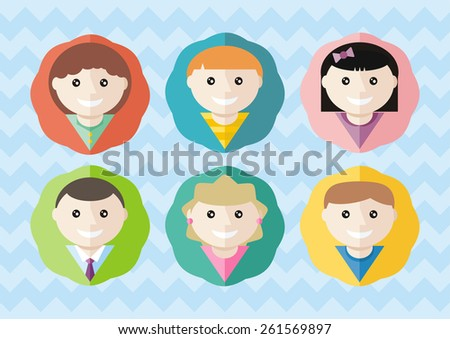 Set of round children avatars of different boys and girls on stylish backround. Flat icon modern design style concept. Raster version - stock photo