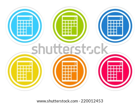 Set of rounded colorful icons with calculator symbol in blue, green, yellow, red and orange colors - stock photo