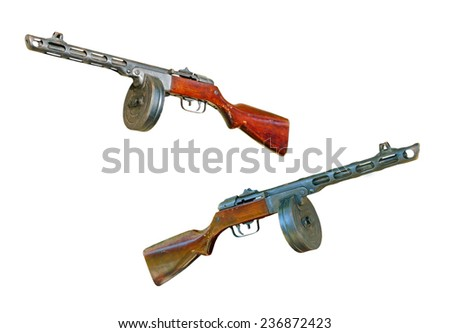 Set of russian PPsH machine gun taken closeup isolated on white background. - stock photo