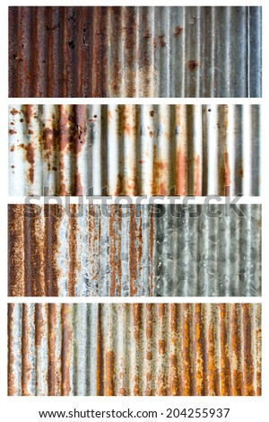 Set of  rusty corrugated iron metal texture - stock photo
