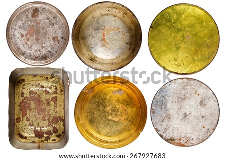 Set of rusty round metal cans isolated on white - stock photo