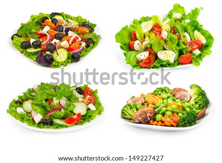 Set of salad with fresh vegetables isolated on white background - stock photo