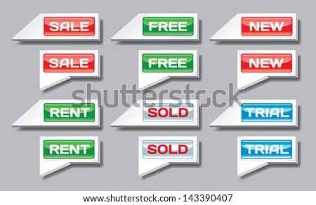 Set of sale, free, new and rent pointers - stock photo