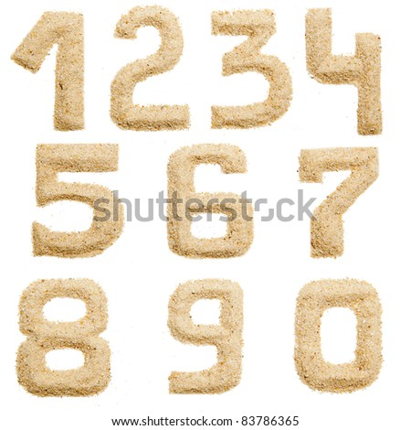 Set of Sand Number  isolated on white. Number from 0 to 9  1.2.3.4.5.6.7.8.9.0 - stock photo