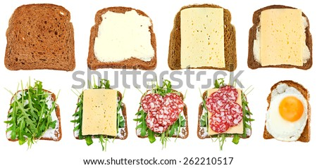 set of sandwiches from toasted rye bread isolated on white background - stock photo