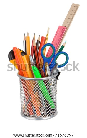 set of school accessories in holder basket isolated on white background - stock photo