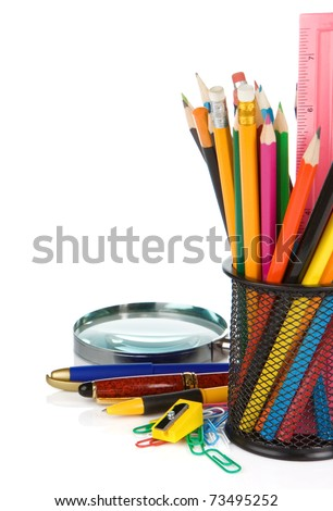 set of school accessories in holder isolated on white background - stock photo