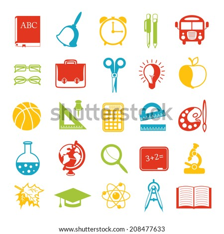 set of school icons, brightly colored - stock photo