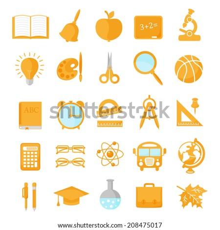Set of school icons orange - stock photo