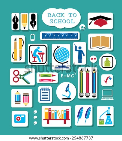 Set of school items. Back to school - stock photo